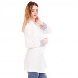 Λευκό Oversized Σακάκι με Ζωνάκι