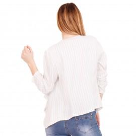 Λευκό Ριγέ Ασύμμετρο Σακάκι