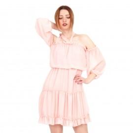Ρόζ Off Shoulder Mini Φόρεμα με C - Throu Λεπτομέρειες