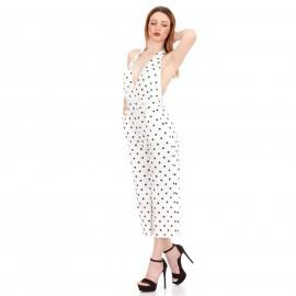Λευκή Πουά Ολόσωμη Φόρμα Ζιπ Κιλότ με Κουμπιά