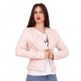 Ρόζ Δερμάτινο Biker Jacket