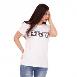 Λευκό T-Shirt με Στάμπα ''Brunette''