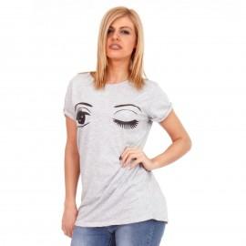 Γκρι T-Shirt με Στάμπα
