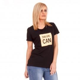 Μαύρο T-Shirt με Κίτρινη Στάμπα