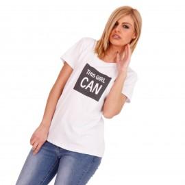 Λευκό T-Shirt με Μαύρη Στάμπα