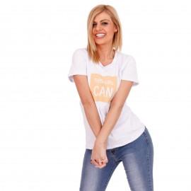 Λευκό T-Shirt με Κίτρινη Στάμπα