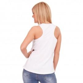 Λευκό Αμάνικο Μπλουζάκι με Στάμπα