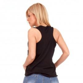 Μαύρο Αμάνικο Μπλουζάκι με Στάμπα