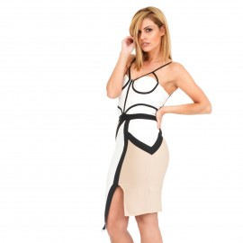Λευκό Off Shoulder Midi Bandage Dress