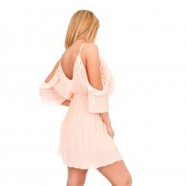 Ροζ Πλισέ Φόρεμα