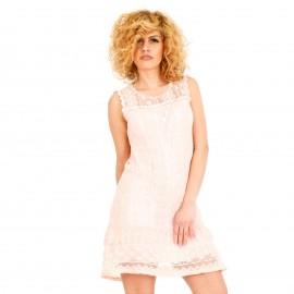 Ροζ Mini Φόρεμα με Δαντέλα