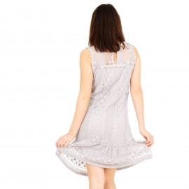 Γκρι Mini Φόρεμα με Δαντέλα