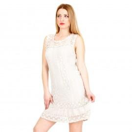Μπεζ Mini Φόρεμα με Δαντέλα