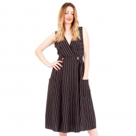 Μαύρο Ριγέ Midi Φόρεμα