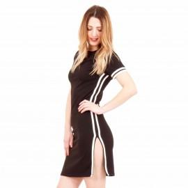 Μαύρο Mini Φόρεμα με Λευκή Ρίγα