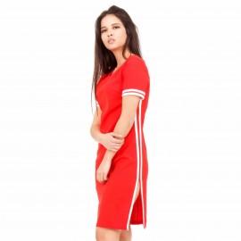 Κόκκινο Mini Φόρεμα με Λευκή Ρίγα
