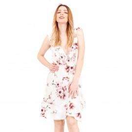 Λευκό Φλοράλ Off - Shoulder Mini Φόρεμα