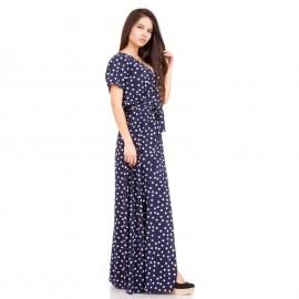 Μπλε Πουά Maxi Φόρεμα με Άνοιγμα στο Πλάι