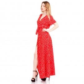 Κόκκινο Πουά Maxi Φόρεμα με Άνοιγμα στο Πλάι