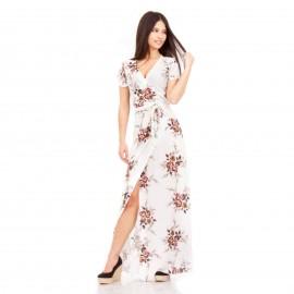 Λευκό Φλοράλ Κρουαζέ Maxi Φόρεμα με Άνοιγμα στο Πλάι