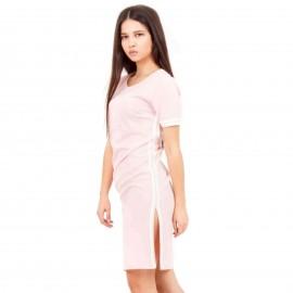 Ρόζ Mini Φόρεμα με Λευκή Ρίγα στο Πλάι