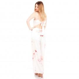 Λευκή Φλοράλ Off - Shoulder Ολόσωμη Φόρμα με Ανοιχτή Πλάτη