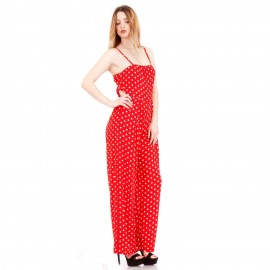 Κόκκινη Πουά Off - Shoulder Ολόσωμη Φόρμα με Ανοιχτή Πλάτη