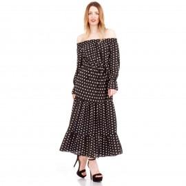 Μαύρο Πουά Strapless Maxi Φόρεμα