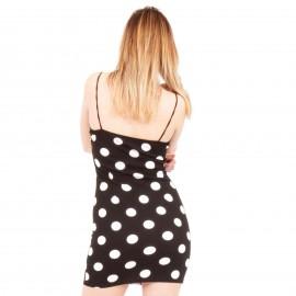 Μαύρο Πουά Mini Φόρεμα