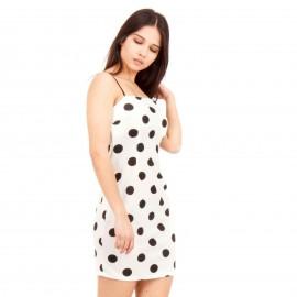 Λευκό Πουά Mini Φόρεμα