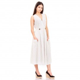 Λευκό Ριγέ Midi Φόρεμα