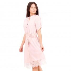 Ρόζ Midi Φόρεμα με Δαντέλα