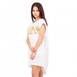 Λευκό Κοντομάνικο Mini Φόρεμα με Στάμπα