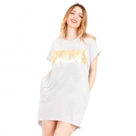Γκρι Κοντομάνικο Mini Φόρεμα με Στάμπα