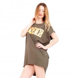 Χακί Κοντομάνικο Mini Φόρεμα με Στάμπα