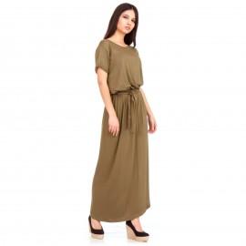 Χακί Maxi Φόρεμα με Άνοιγμα στο Πλάι