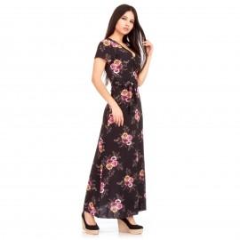 Μαύρο Φλοράλ Κρουαζέ Maxi Φόρεμα με Άνοιγμα στο Πλάι