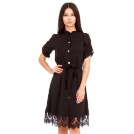 Μαύρο Midi Φόρεμα με Δαντέλα