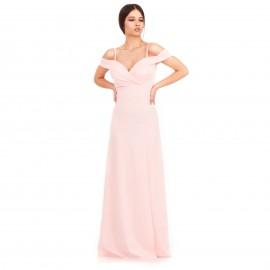 Ρόζ Maxi Strapless Φόρεμα