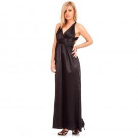 Μαύρο Maxi Φόρεμα με Χιαστί Πλάτη