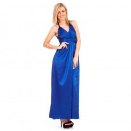 Μπλε Ρουά Maxi Φόρεμα με Χιαστί Πλάτη