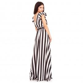 Ριγέ Maxi Φόρεμα με Βολάν στα Μανίκια