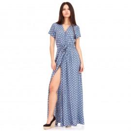Σιέλ Πουά Maxi Φόρεμα με Άνοιγμα στο Πλάι