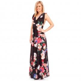 Μαύρο Φλοράλ Maxi Φόρεμα με Ανοιχτή Πλάτη