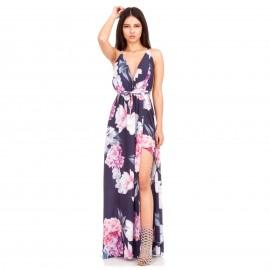 Μαύρο Φλοράλ Maxi Φόρεμα με Χιαστί Πλάτη drs-6488 (blkflrl) - Silia D 59b3b54586c