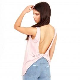 Ρόζ Αμάνικη Μπλούζα με Ανοιχτή Πλάτη