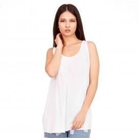 Λευκή Αμάνικη Μπλούζα με Ανοιχτή Πλάτη