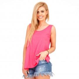 Φούξια Αμάνικη Μπλούζα με Ανοιχτή Πλάτη