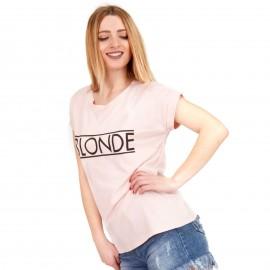 Ρόζ T-Shirt με Στάμπα ''Blonde''