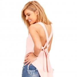 Ρόζ Ασύμμετρη Αμάνικη Μπλούζα με Ανοιχτή Πλάτη